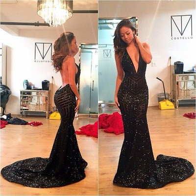 Elegant Black Long Evening Dresses Sequins Mermaid Evening Wear Prom Dresses Cheap_3