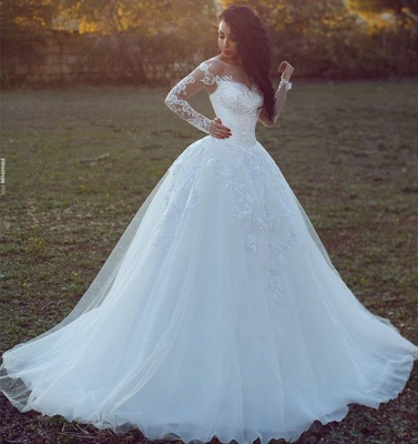 White Wedding Dresses Long Sleeves With Lace A Line Tulle Bridal Wedding Gowns_2
