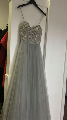 Silver prom dresses long beaded spaghetti tulle evening wear prom dresses_2