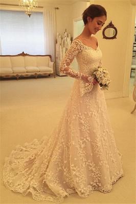 Fashion Hochzeitskleider Für Mollige mit Ärmel Günstige Brautkleider A Linie_4