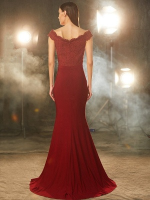 Elegant Evening Dress Wine Red Chiffon Long Evening Dresses With Lace_2