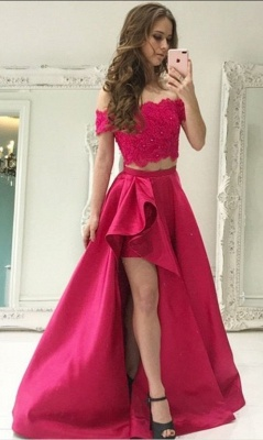 Elegant fuchsia evening dresses long lace with short sleeves 2 piece evening fashions_3