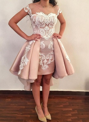 Pink Cocktail Dresses Short With Lace A Line Party Dresses Cheap Online_3