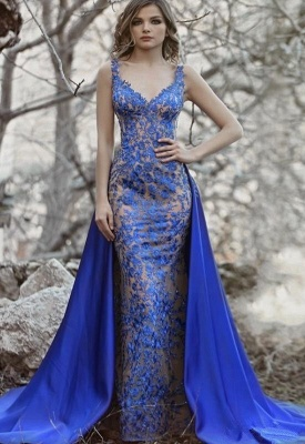 Royal Blue Evening Dresses Long Lace | Evening wear with lace_1