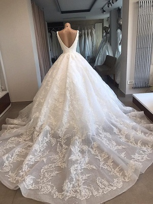 Modern princess wedding dress white | Wedding dress with lace_3
