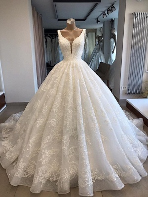Modern princess wedding dress white | Wedding dress with lace_1