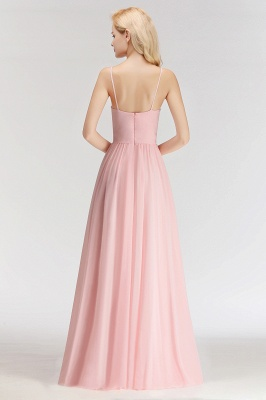 Sexy Bridesmaid Dresses Chiffon Long Pink Sheath Dresses For Wedding_5