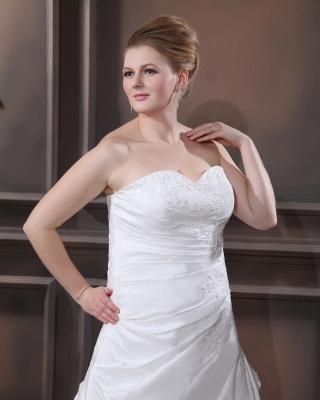 Schicke Brautkleider Große Größen A Linie Taft Übergrößen Hochzeitskleider Nach Mäßig_3