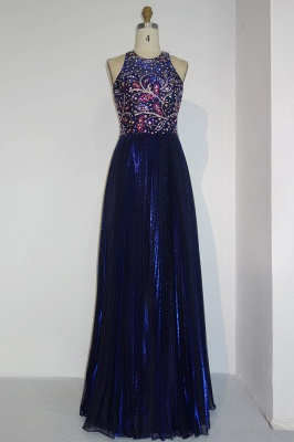 Dark Blue Long Evening Dresses Cheap Beaded Sheath Dress Prom Dresses Evening Wear_1