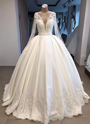 Elegante Brautkleid Mit Ärmel | Prinzessin Hochzeitskleid Weiß Online_1