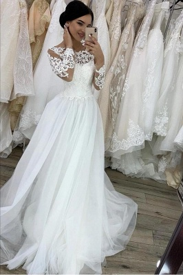 White wedding dresses A line | Lace wedding dresses with sleeves_1