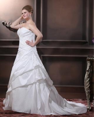 Schicke Brautkleider Große Größen A Linie Taft Übergrößen Hochzeitskleider Nach Mäßig_5
