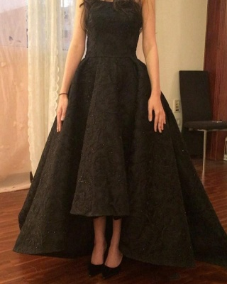Elegant Evening Dresses Black Lace Long A Line Prom Dresses Evening Wear_3