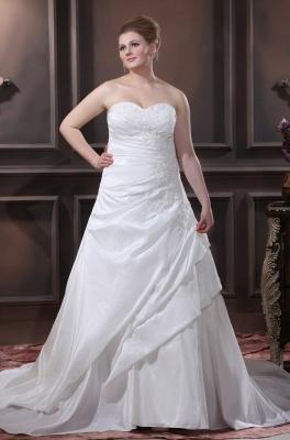 Schicke Brautkleider Große Größen A Linie Taft Übergrößen Hochzeitskleider Nach Mäßig_1
