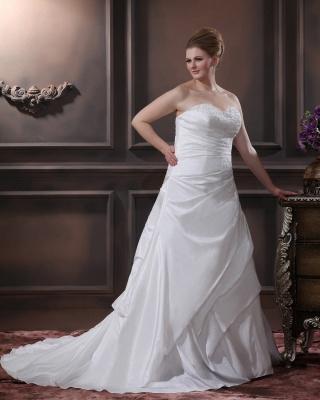 Schicke Brautkleider Große Größen A Linie Taft Übergrößen Hochzeitskleider Nach Mäßig_4