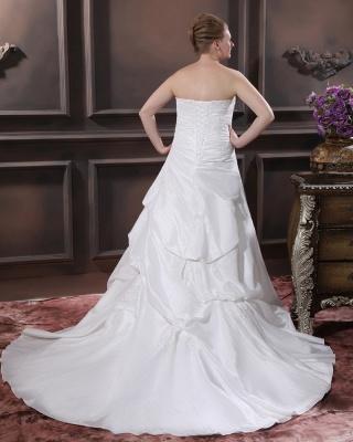 Schicke Brautkleider Große Größen A Linie Taft Übergrößen Hochzeitskleider Nach Mäßig_2