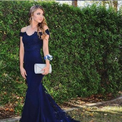 Designer Navy Blue Chiffon Dresses Lace Evening Dresses Long Cheap Online_2