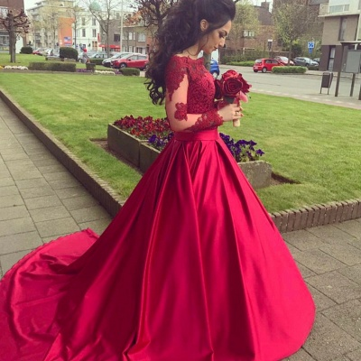 Buy fashion red wedding dresses with sleeves lace a line wedding dresses online_2