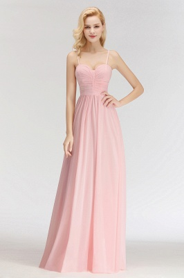 Sexy Bridesmaid Dresses Chiffon Long Pink Sheath Dresses For Wedding_3