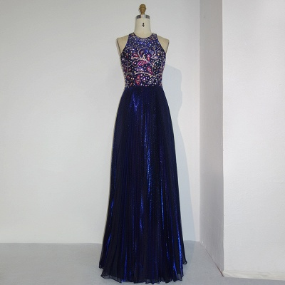 Dark Blue Long Evening Dresses Cheap Beaded Sheath Dress Prom Dresses Evening Wear_4