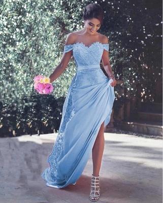 Elegante Abendkleider Blau Spitze | Abiballkleider Lang Günstig_1
