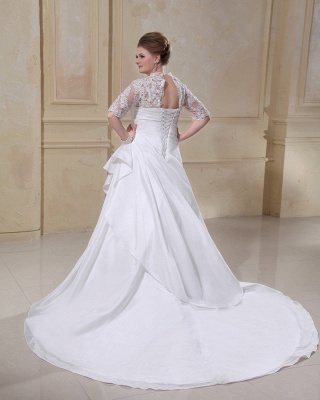 Wedding Dresses Plus Size With Sleeves Lace A line Plus Size Wedding Dresses Custom Moderate_2