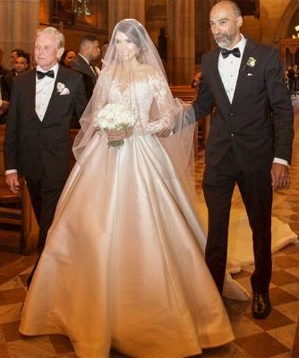 Elegante Brautkleider Lang Ärmel Spitze 2 Teilige Brautmoden Hochzeitskleider Online_4