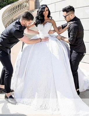 Weiße Brautkleider Mit Spitze Prinzessin Satin Brautmoden Hochzeitskleider Mit Schleppe_1