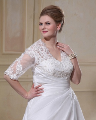 Wedding Dresses Plus Size With Sleeves Lace A line Plus Size Wedding Dresses Custom Moderate_3