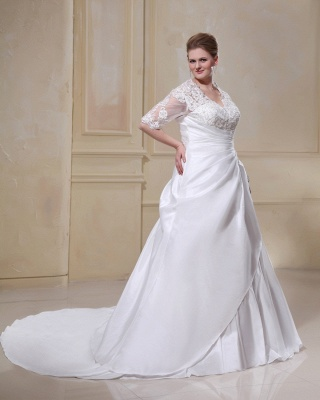 Wedding Dresses Plus Size With Sleeves Lace A line Plus Size Wedding Dresses Custom Moderate_4