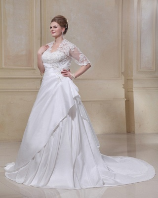 Wedding Dresses Plus Size With Sleeves Lace A line Plus Size Wedding Dresses Custom Moderate_5