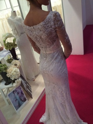 Cheap Wedding Dresses White Long Sleeves Crystal Mermaid Bridal Wedding Gowns_2