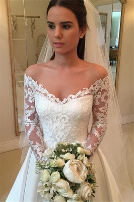 Simple Wedding Dresses A Line Lace Wedding Dresses With Sleeves_2