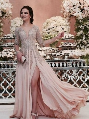 Luxury champagne evening dresses long chiffon floor-length evening wear prom dresses with sleeves cheap_1