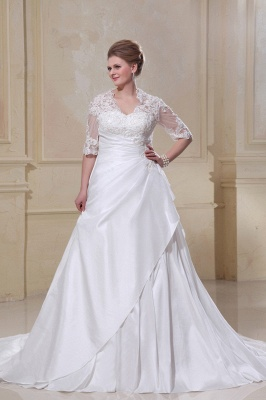 Wedding Dresses Plus Size With Sleeves Lace A line Plus Size Wedding Dresses Custom Moderate_1