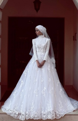 Design white wedding dresses with sleeves lace wedding dresses a line_1