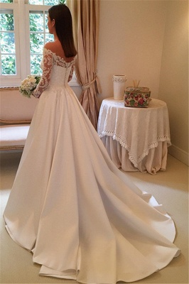 Simple Wedding Dresses A Line Lace Wedding Dresses With Sleeves_3