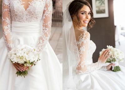Elegante Brautkleider Lang Ärmel Spitze 2 Teilige Brautmoden Hochzeitskleider Online_3