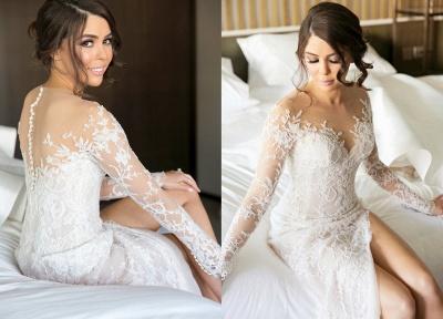 Elegante Brautkleider Lang Ärmel Spitze 2 Teilige Brautmoden Hochzeitskleider Online_2