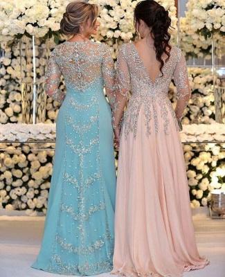 Luxus Abendkleider Lang V Ausschnitt | Chiffon Abendmode Blau_2
