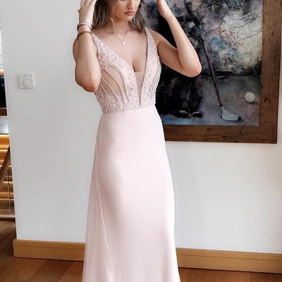 Designer Pink Evening Dress Chiffon Long Cheap Evening Wear Evening Dresses Online_2