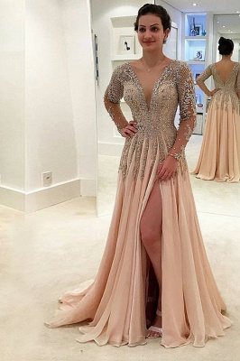 Luxury champagne evening dresses long chiffon floor-length evening wear prom dresses with sleeves cheap_2