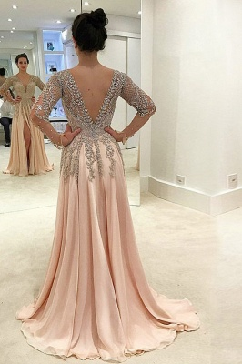 Luxury champagne evening dresses long chiffon floor-length evening wear prom dresses with sleeves cheap_3