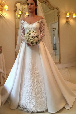Simple Wedding Dresses A Line Lace Wedding Dresses With Sleeves_1