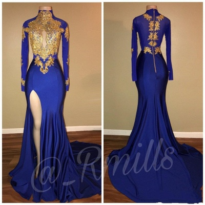 Elegant evening dresses with sleeves mermaid evening dress dark blue long_2