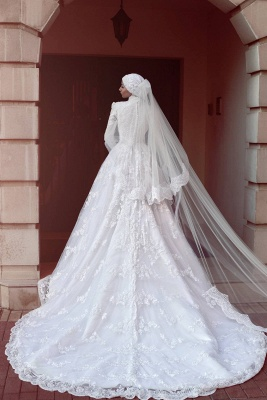 Design white wedding dresses with sleeves lace wedding dresses a line_2