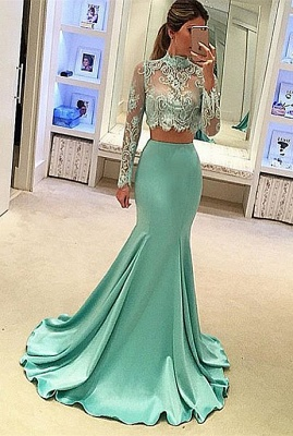 Green Evening Dresses Long Sleeves Lace Mermaid Satin Evening Wear Prom Dresses_1
