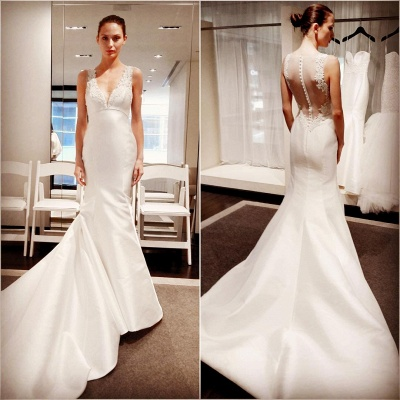 New White Wedding Dresses With Lace V Neckline Satin Mermaid Bridal Wedding Gowns_2