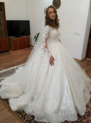 Designer Wedding Dresses Lace A line | Cheap wedding dresses with sleeves_1