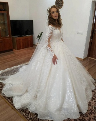 Designer Wedding Dresses Lace A line | Cheap wedding dresses with sleeves_2